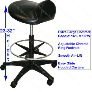 extra large deluxe air lift saddle stool with adjustable footrest
