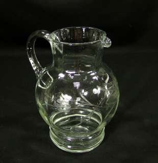 ART DECO BOHEMIAN CUT GLASS WATER WINE PITCHER EWER JUG
